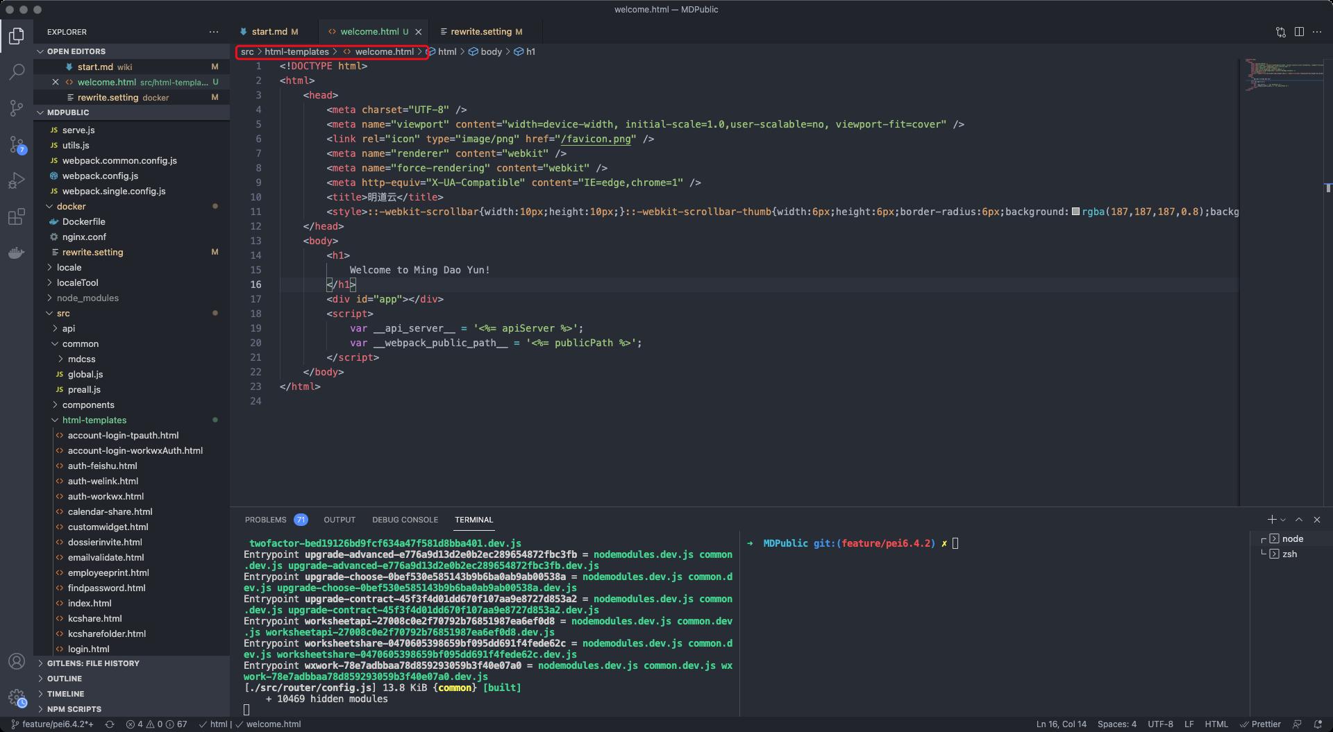添加html文件
